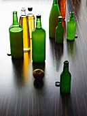 Various varieties of apple juice in bottles