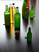 Various varieties of apple juice in bottles