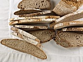 Brown bread made from mixed rye and wheat flour, sliced (view from above)