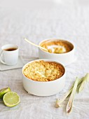 Lemon grass pudding with lime zest