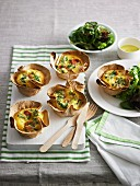 Salami and ricotta frittata in tortilla bowls