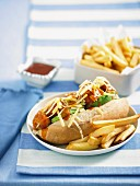 Meatball sub with chips