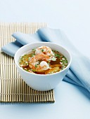 Thai Shrimp Soup in a White Bowl