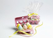 Chocolate Easter Eggs in an Egg Carton; Six Packaged as a Gift