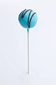 Blue Cake Pop with Chocolate Drizzles