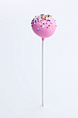 Pink Frosted Cake Pop with Colored Sprinkles