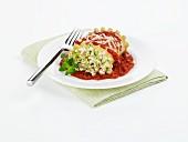 Ricotta and Zucchini Lasagna Roll in Tomato Sauce
