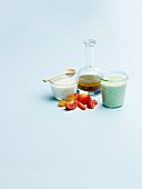 Avocadodressing, Joghurtdressing und Orangen-Balsamico-Dressing