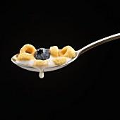 Ein Löffel Cornflakes mit Blaubeere und tropfender Milch