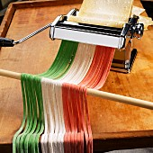 Pasta Maker with Homemade Green, White and Red Noodles