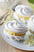 Meringues filled with elderflower cream