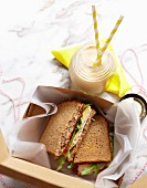 Sandwiches for a lunch box and a peanut butter & banana smoothie