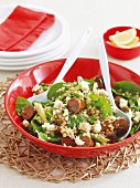 Lentil salad with lamb and sausage