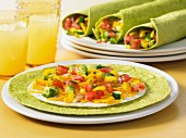 Spinach wrap with egg white omelette and salsa