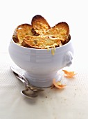 Onion soup with cheese croute