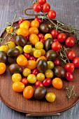 Cherry tomatoes in various colours
