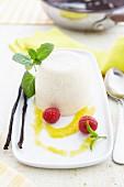 Panna cotta on a dessert plate