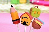 Colourful cake pops with school designs