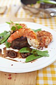 Surf 'n' turf (steak with prawns)