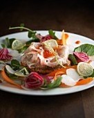 Carpaccio of gilt-head bream with finely sliced vegetables