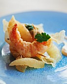 Prawns wrapped in brik pastry with grapefruit