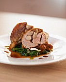 Guinea fowl stuffed with porcini mushrooms