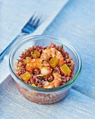Hibiscus tabbouleh with prawns and citrus jelly