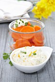 Cooked carrots with herb & orange quark