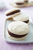 Almond macaroons with chocolate cream filling