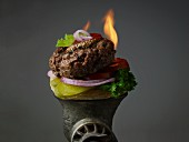 Burger with Toppings and Flame