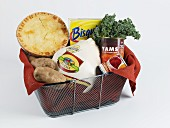 Thanksgiving Food in a Grocery Basket