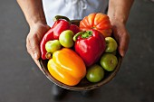 Hands Holding a Bowl of Fresh Vegetables