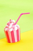 Party cupcake with a drinking straw