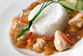 Chicken breast with apricot sauce and rice