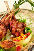Lamb chops with rosemary and a pepper salsa