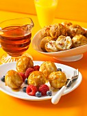 Bacon & cheddar bites, and pancake balls with berries and maple syrup