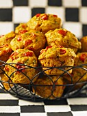 Savoury muffins with cherry tomatoes, chillies and chives