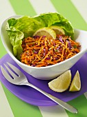 Grated carrots with sesame seeds and lemon zest