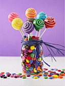 Colourful cake pops and chocolate beans