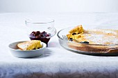 Oven-baked Schmarrn (sugared pancake, Austria) with mulled-wine cherries