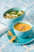 Asparagus soup with peas and omelette; carrot soup with almond and ginger crisp