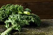 Kale leaves on a stone slab