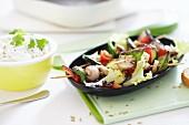 Vegetable skewers with dip