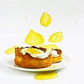 Lemon tart with whipped cream