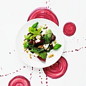 A beetroot, feta and walnut salad