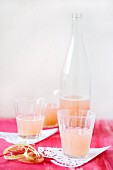 Rhubarb spritzer in glasses and in a bottle