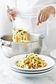 Linguini Pasta - Prawns, Peas, Lemon Zest, Dill, Spring Onions