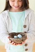A girl holding a bird's nest with two bird's eggs in her hands