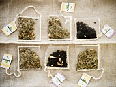 Six different herbal teas and aromatic black teas in teabags