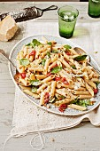Penne with basil and dried tomatoes
